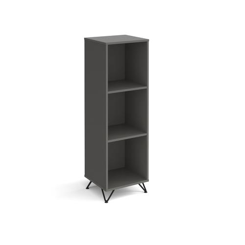 Tikal cube storage unit 1370mm high with 3 open boxes and black hairpin legs - grey