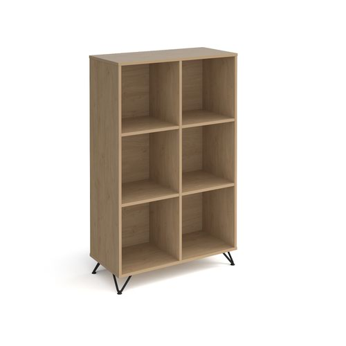 Tikal cube storage unit 1370mm high with 6 open boxes and black hairpin legs - oak