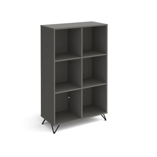 Tikal cube storage unit 1370mm high with 6 open boxes and black hairpin legs - grey