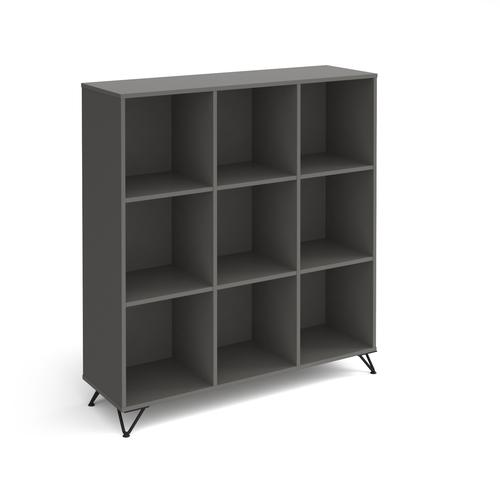 Tikal cube storage unit 1370mm high with 9 open boxes and black hairpin legs - grey