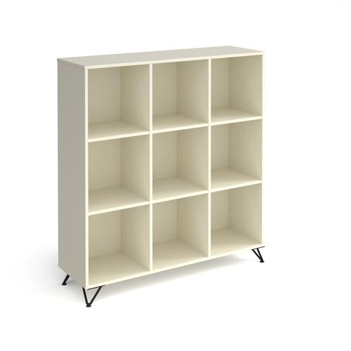 Tikal cube storage unit 1370mm high with 9 open boxes and black hairpin legs - white