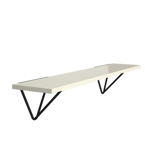 Tikal wall shelf 1000mm wide with black hairpin support brackets - white