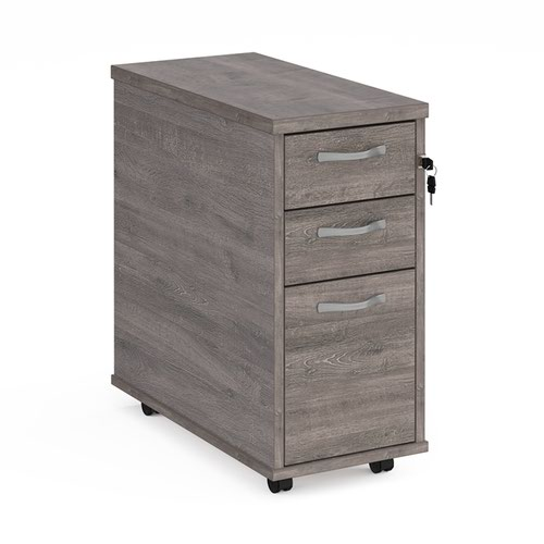 Tall slimline mobile 3 drawer pedestal with silver handles 600mm deep - grey oak