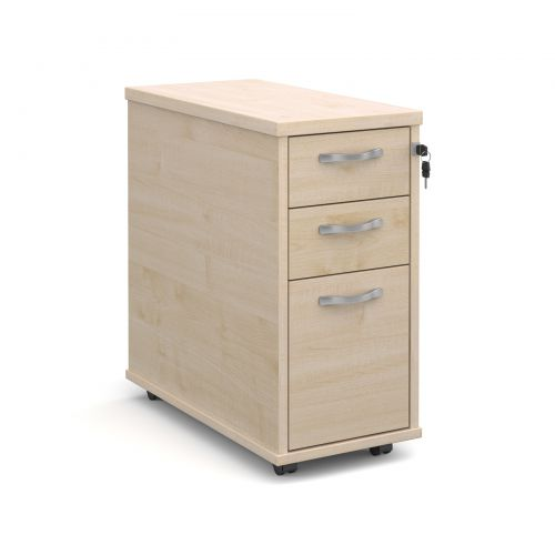 Tall slimline mobile 3 drawer pedestal with silver handles 600mm deep - maple