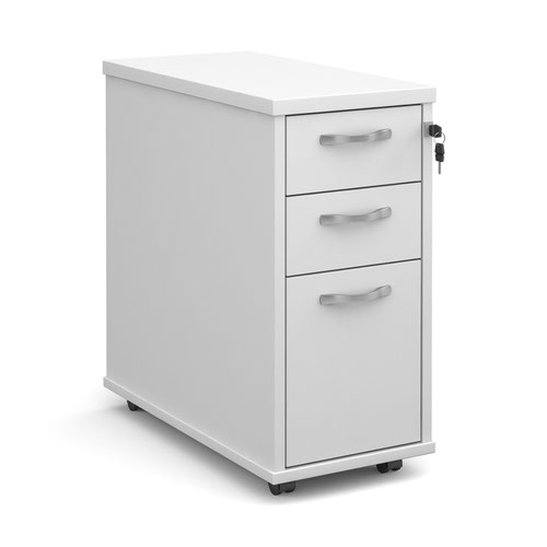 Tall slimline mobile 3 drawer pedestal with silver handles 600mm deep - white