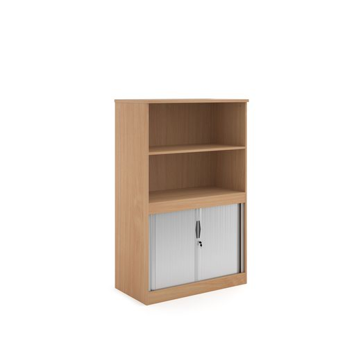 Systems combination unit with tambour doors and open top 1600mm high with 2 shelves - beech