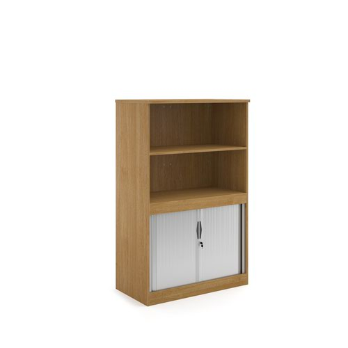 Systems combination unit with tambour doors and open top 1600mm high with 2 shelves - oak