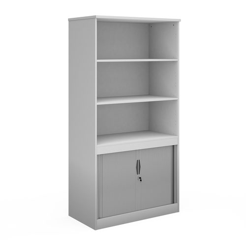Systems combination unit with tambour doors and open top 2000mm high with 2 shelves - white