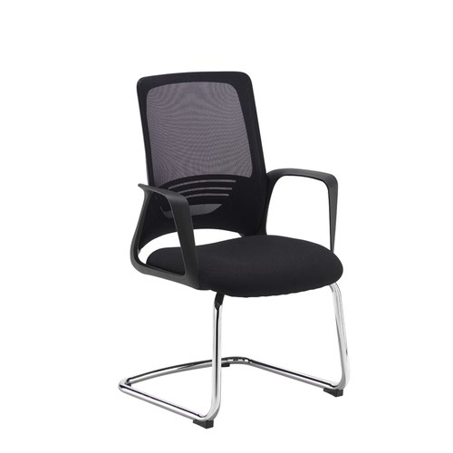 Toto black mesh back visitors chair with black fabric seat and chrome cantilever frame