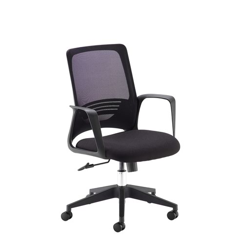 Toto black mesh back operator chair with black fabric seat and black base