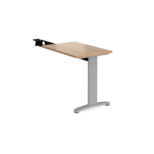 TR10 single return desk 800mm x 600mm - silver frame and beech top
