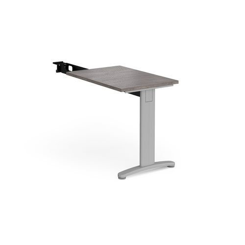 TR10 single return desk 800mm x 600mm - silver frame and grey oak top
