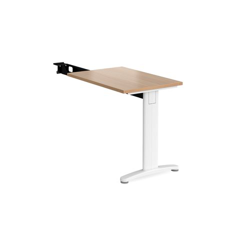 TR10 single return desk 800mm x 600mm - white frame and beech top