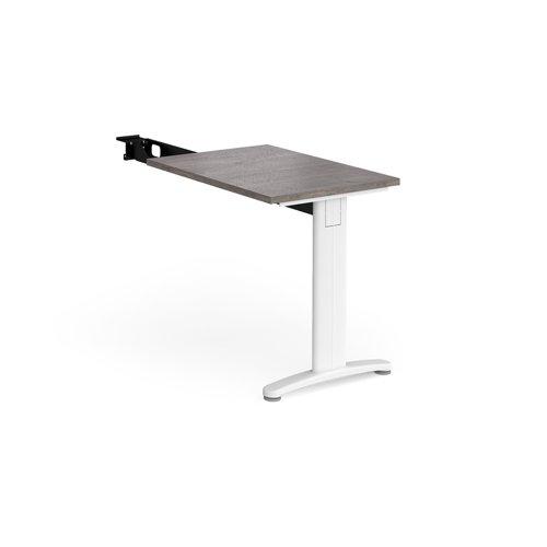 TR10 single return desk 800mm x 600mm - white frame and grey oak top