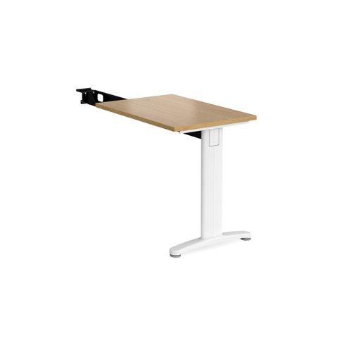 TR10 single return desk 800mm x 600mm - white frame and oak top
