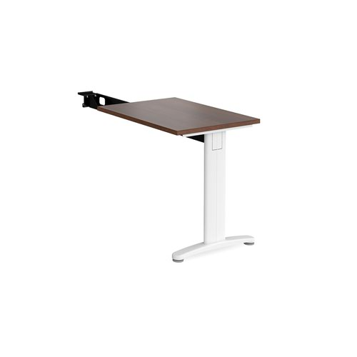 TR10 single return desk 800mm x 600mm - white frame and walnut top
