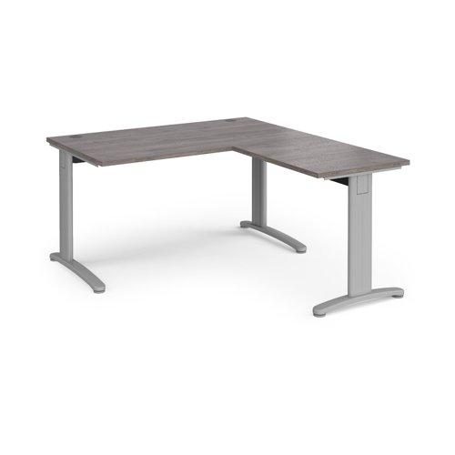 TR10 desk 1400mm x 800mm with 800mm return desk - silver frame and grey oak top