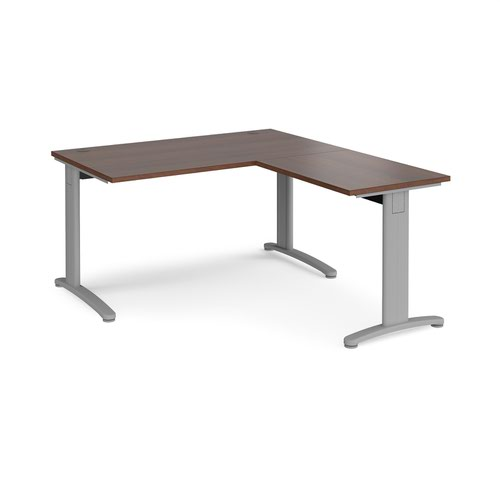 TR10 desk 1400mm x 800mm with 800mm return desk - silver frame and walnut top
