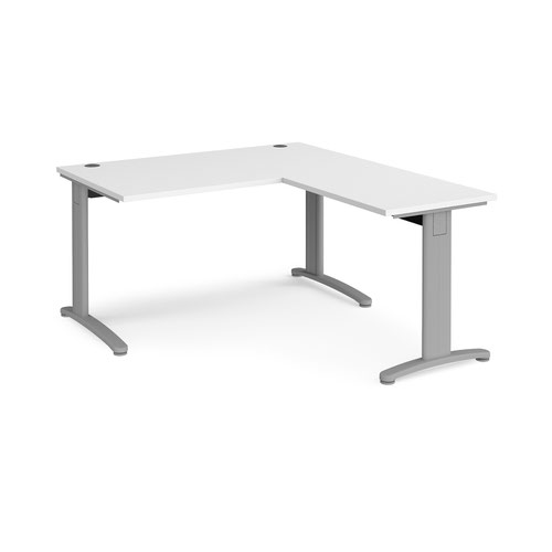 TR10 desk 1400mm x 800mm with 800mm return desk - silver frame and white top