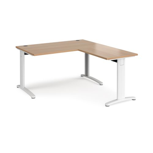 TR10 desk 1400mm x 800mm with 800mm return desk - white frame and beech top