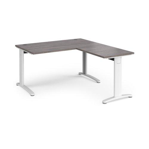 TR10 desk 1400mm x 800mm with 800mm return desk - white frame and grey oak top