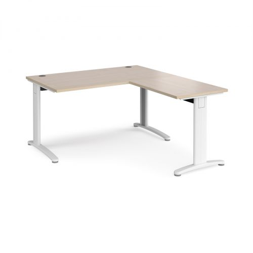 TR10 desk 1400mm x 800mm with 800mm return desk - white frame and maple top