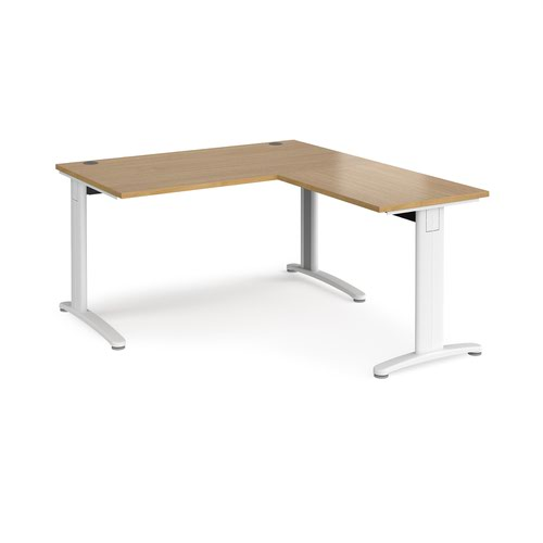 TR10 desk 1400mm x 800mm with 800mm return desk - white frame and oak top