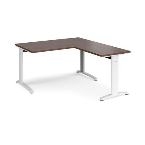 TR10 desk 1400mm x 800mm with 800mm return desk - white frame and walnut top