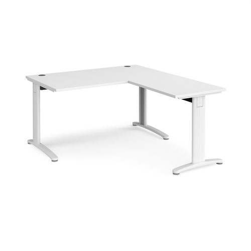 TR10 desk 1400mm x 800mm with 800mm return desk - white frame and white top
