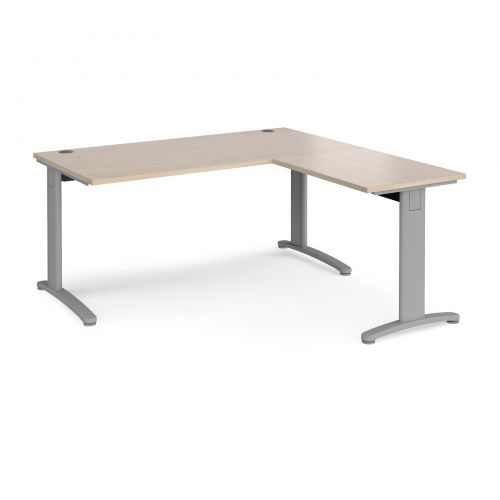 TR10 desk 1600mm x 800mm with 800mm return desk - silver frame and maple top
