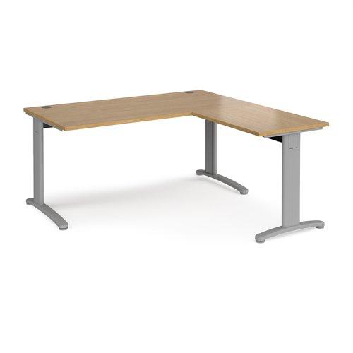 TR10 desk 1600mm x 800mm with 800mm return desk - silver frame and oak top