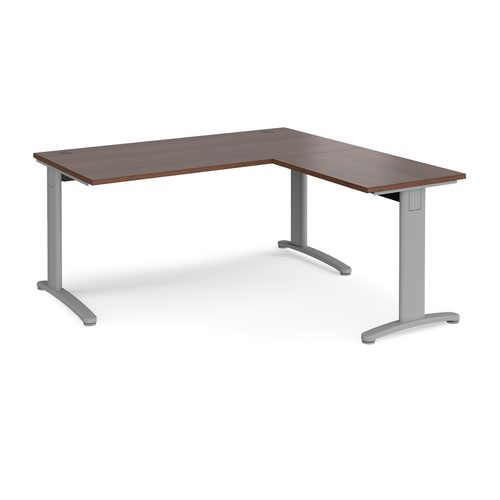 TR10 desk 1600mm x 800mm with 800mm return desk - silver frame and walnut top