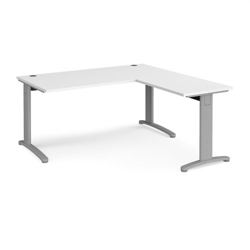 TR10 desk 1600mm x 800mm with 800mm return desk - silver frame and white top