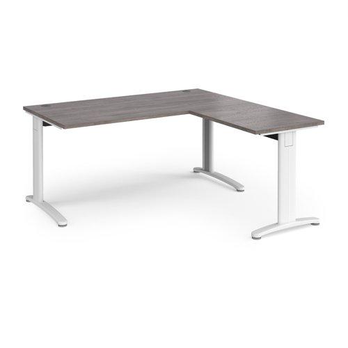 TR10 desk 1600mm x 800mm with 800mm return desk - white frame and grey oak top