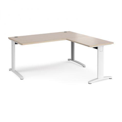 TR10 desk 1600mm x 800mm with 800mm return desk - white frame and maple top