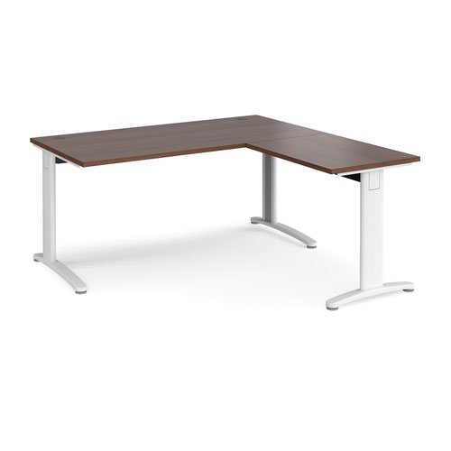 TR10 desk 1600mm x 800mm with 800mm return desk - white frame and walnut top