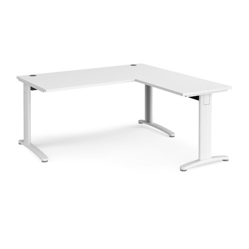 TR10 desk 1600mm x 800mm with 800mm return desk - white frame and white top