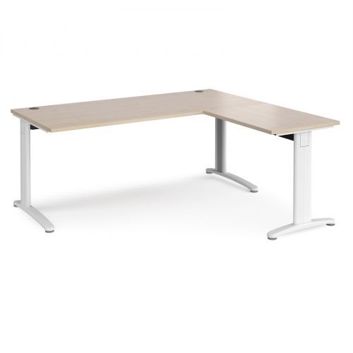 TR10 desk 1800mm x 800mm with 800mm return desk - white frame and maple top