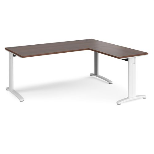 TR10 desk 1800mm x 800mm with 800mm return desk - white frame and walnut top