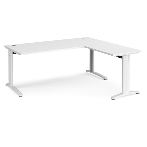 TR10 desk 1800mm x 800mm with 800mm return desk - white frame and white top