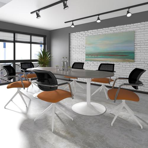 Trumpet base rectangular boardroom table 1800mm x 1000mm - silver base and oak top Boardroom Tables TB18-S-O