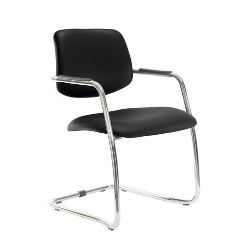 Tuba chrome cantilever frame conference chair with half upholstered back - Nero Black vinyl