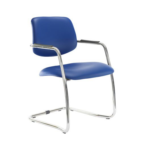 Tuba chrome cantilever frame conference chair with half upholstered back - Ocean Blue vinyl