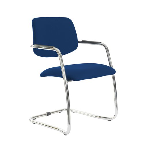 Tuba chrome cantilever frame conference chair with half upholstered back - Curacao Blue
