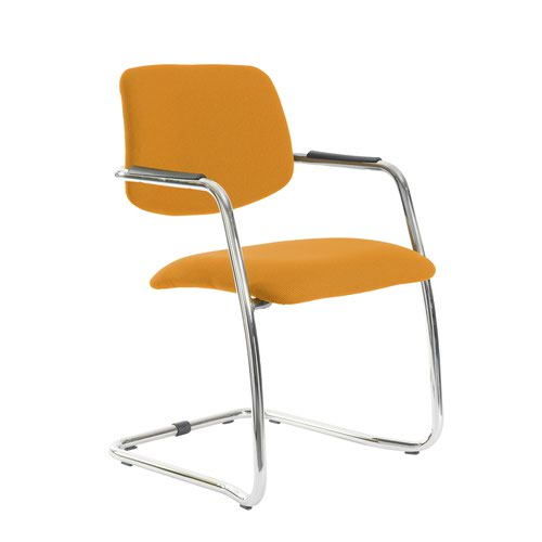 Tuba chrome cantilever frame conference chair with half upholstered back - Solano Yellow