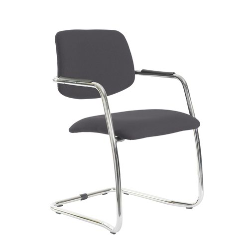 Tuba chrome cantilever frame conference chair with half upholstered back - Blizzard Grey