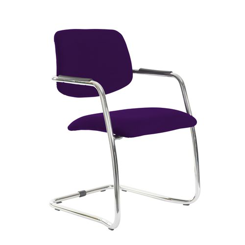 Tuba chrome cantilever frame conference chair with half upholstered back - Tarot Purple