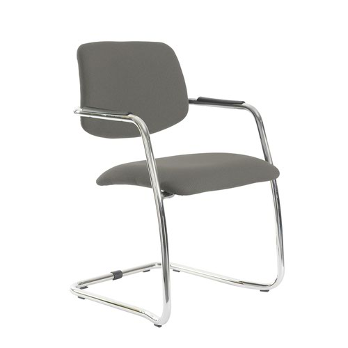 Tuba chrome cantilever frame conference chair with half upholstered back - Slip Grey