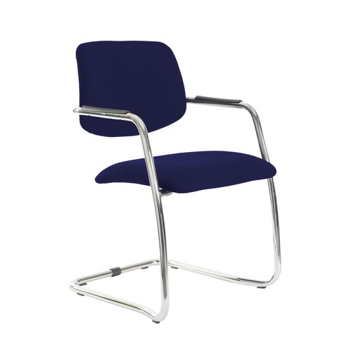 Tuba chrome cantilever frame conference chair with half upholstered back - Ocean Blue