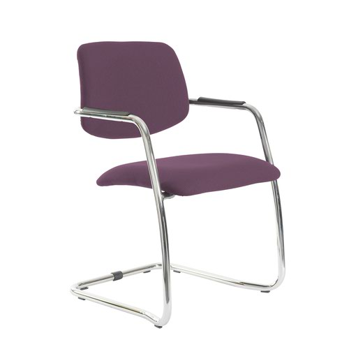 Tuba chrome cantilever frame conference chair with half upholstered back - Bridgetown Purple
